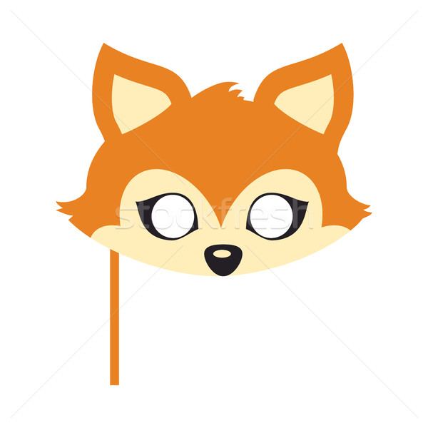 Red Fox with Triangular Ears Carnival Mask. Vector Stock photo © robuart