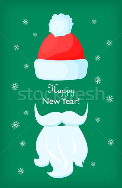 明けましておめでとうございます サンタクロース キャップ 白 あごひげ 口ひげ ストックフォト © robuart
