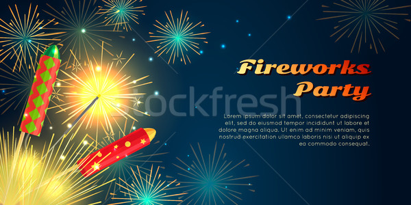 Fireworks Party Barner. Collection of Pyrotechnics Stock photo © robuart