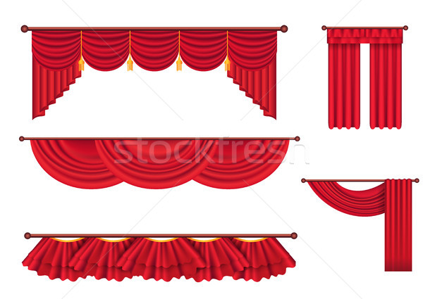 Wide Red Drapes and Lambrequins Vector Set Stock photo © robuart
