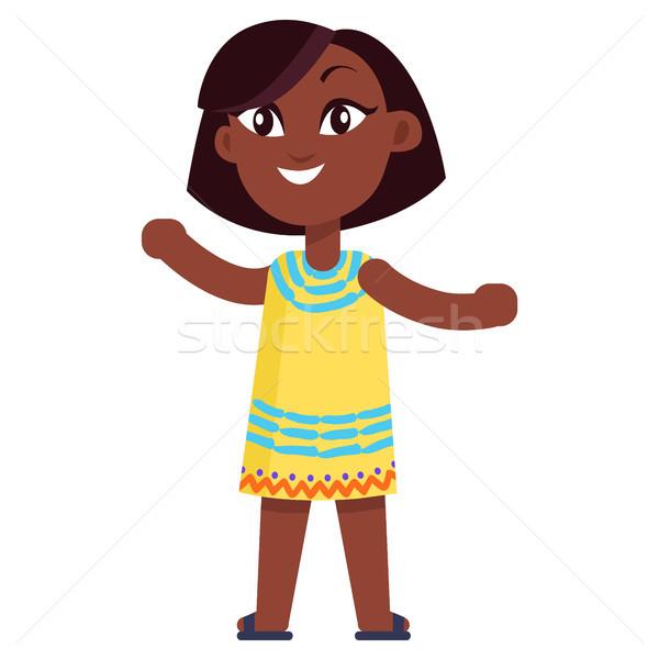 счастливым мало девушки желтый платье молодые Сток-фото © robuart