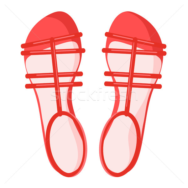 Pair of Red Female Sandals Isolated Illustration Stock photo © robuart