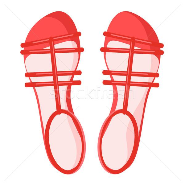 Pár piros női szandál izolált illusztráció Stock fotó © robuart