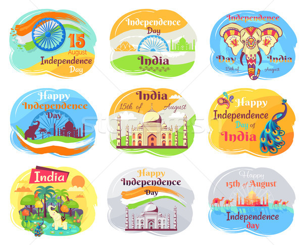 Indian Independence Day Celebration Emblems Set Stock photo © robuart