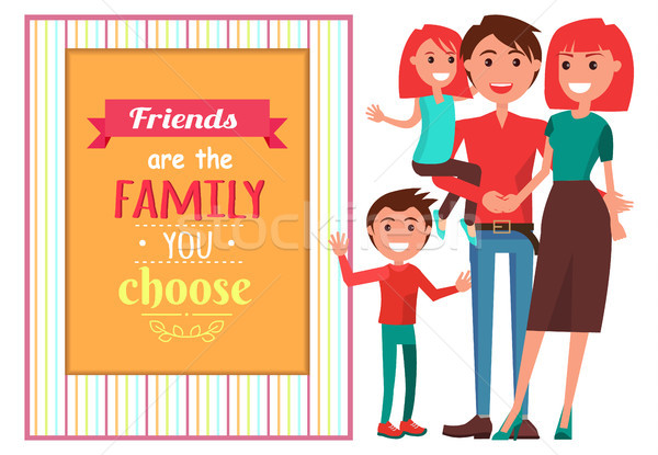 Friendly Family with Children near Big Quotation Stock photo © robuart