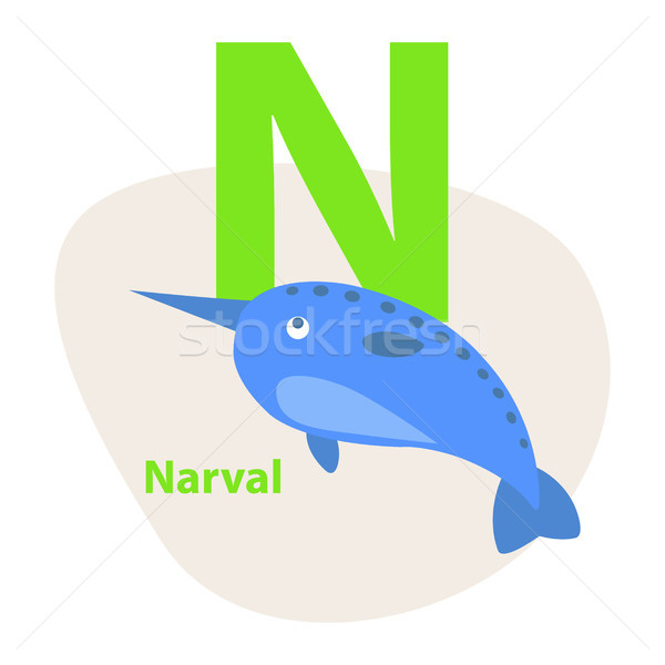 Zoo ABC Letter with Cute Narwhal Cartoon Vector Stock photo © robuart