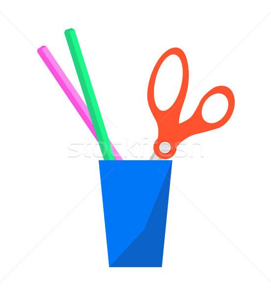 Escolas artigos de papelaria colorido vetor cartaz Foto stock © robuart