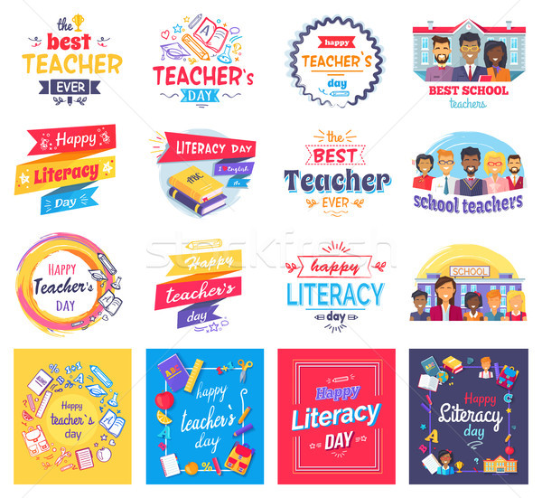 Literacy and Teachers Day Isolated Stickers Set Stock photo © robuart