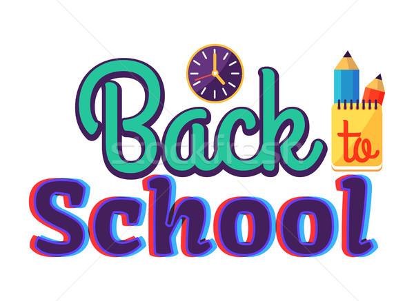 Terug naar school cartoon stijl sticker tekst opschrift Stockfoto © robuart