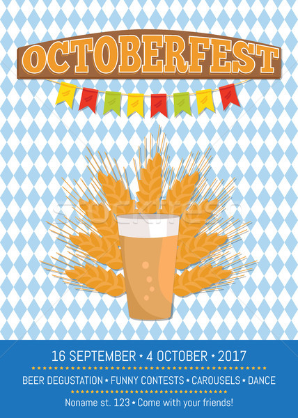 Octoberfest Creative Poster with Information Beer Stock photo © robuart
