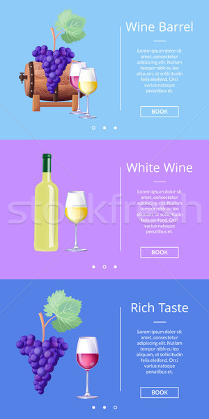 Wine Barrel and Rich Taste Vector Illustration Stock photo © robuart