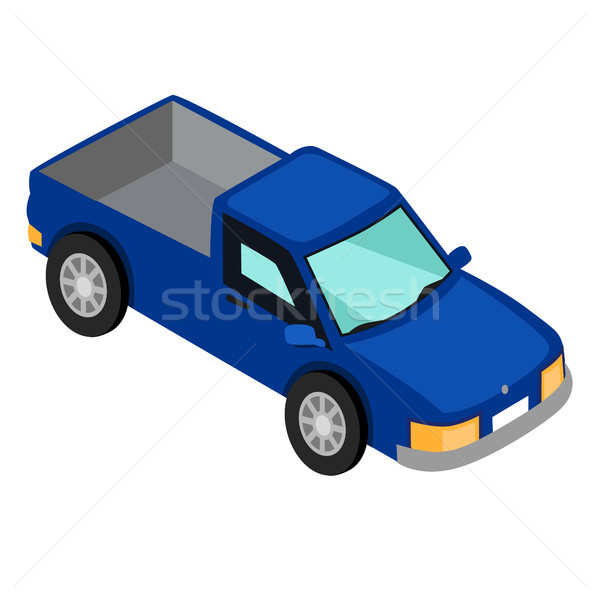 Blue Van Pick-up Truck Isolated on White Vector Stock photo © robuart