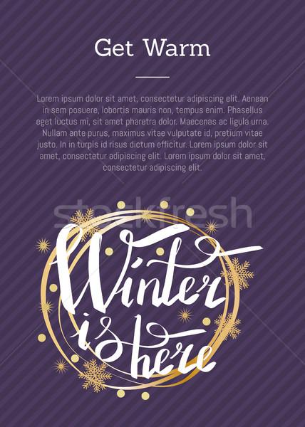 Warm winter hier opschrift geschreven Stockfoto © robuart