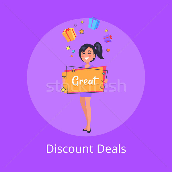 Discount Deals Poster with Smiling Girl Dreaming Stock photo © robuart