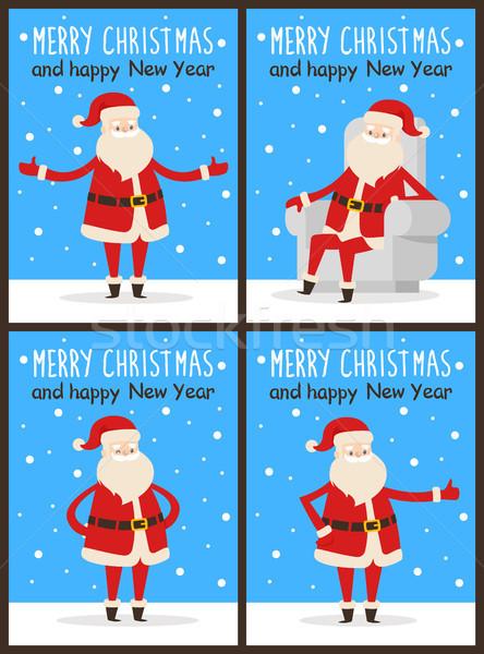 Merry Christmas and Happy New Year Santa Congrats Stock photo © robuart