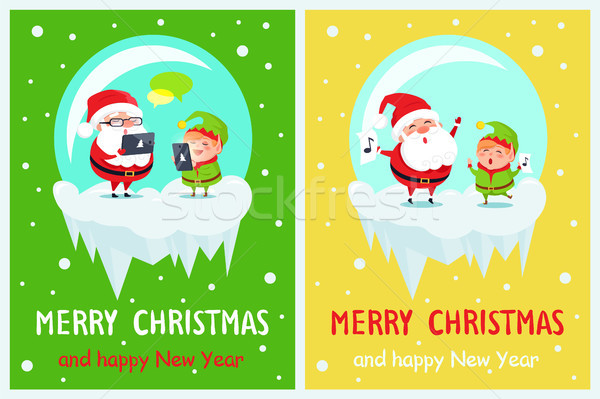 Merry Christmas and Happy New Year Two Posters Stock photo © robuart