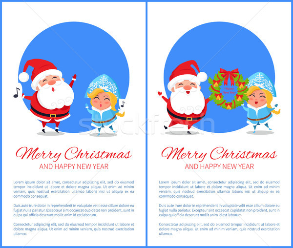 Merry Christmas Happy New Year Santa Snow Maiden Stock photo © robuart