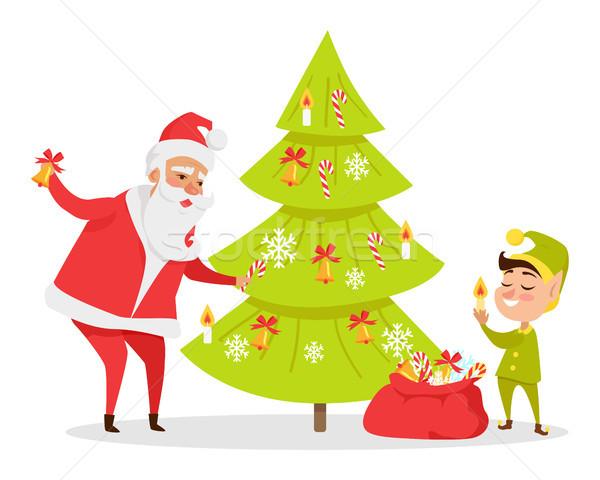 Christmas Tree Decor Web Banner. Vector Illustration Stock photo © robuart