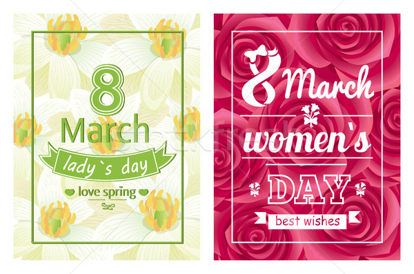 Senhoras dia amor primavera caligrafia imprimir Foto stock © robuart