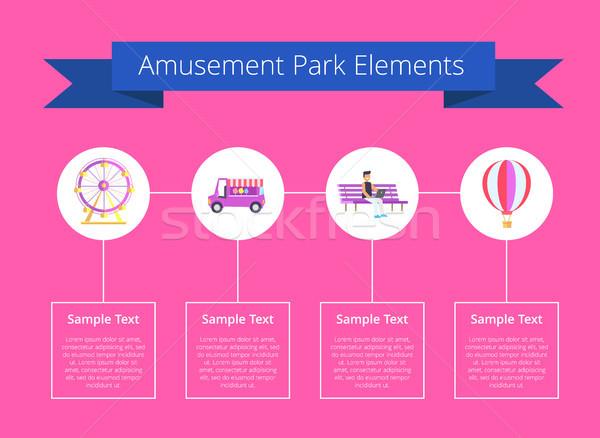 Parco di divertimenti elementi poster titolo nastro testo Foto d'archivio © robuart