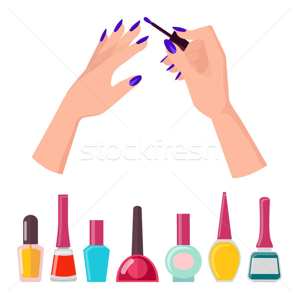 Fingernails and Polish Poster Vector Illustration Stock photo © robuart