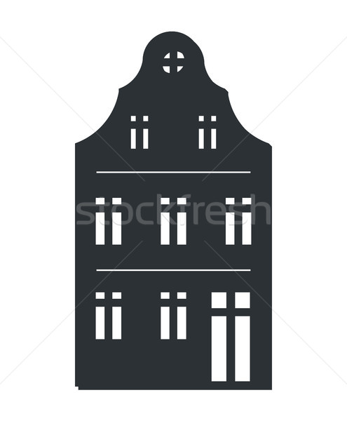 Multi Storey House Black Silhouette Isolated Icon Stock photo © robuart