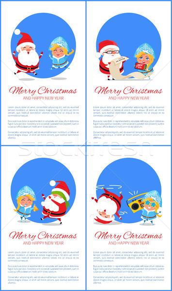 陽気な クリスマス 明けましておめでとうございます サンタクロース 雪 ストックフォト © robuart
