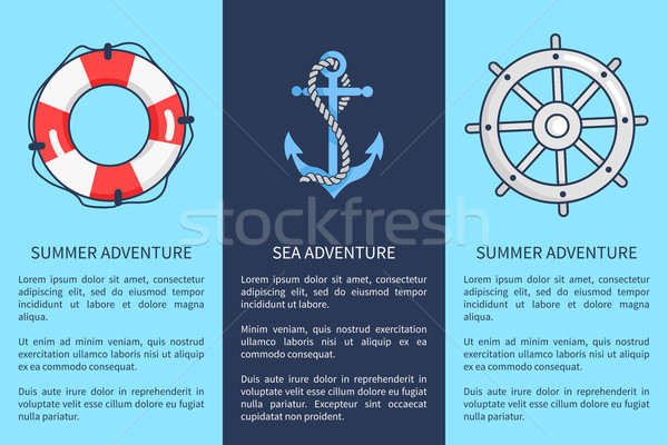 Set of Posters for Sea and Summer Adventures Stock photo © robuart