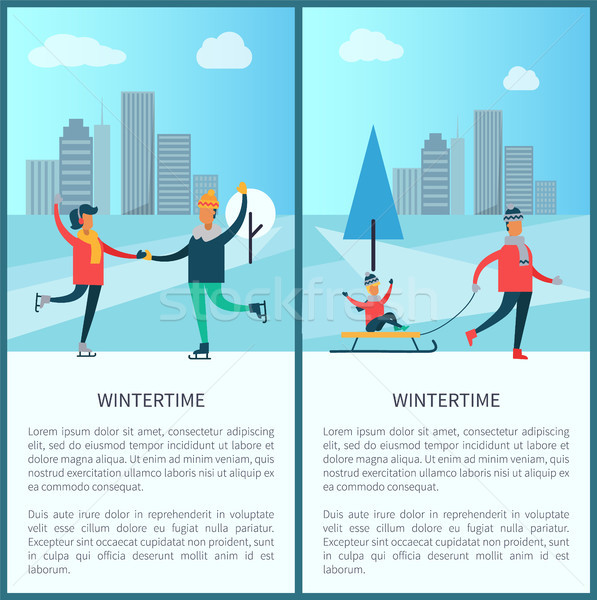Wintertime Skaters and Family Vector Illustration Stock photo © robuart