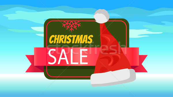 Christmas Sale Banner with Cute Red Santa's Hat Stock photo © robuart