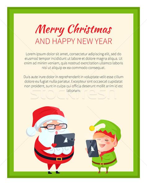 Alegre natal feliz ano novo elfo bonitinho Foto stock © robuart