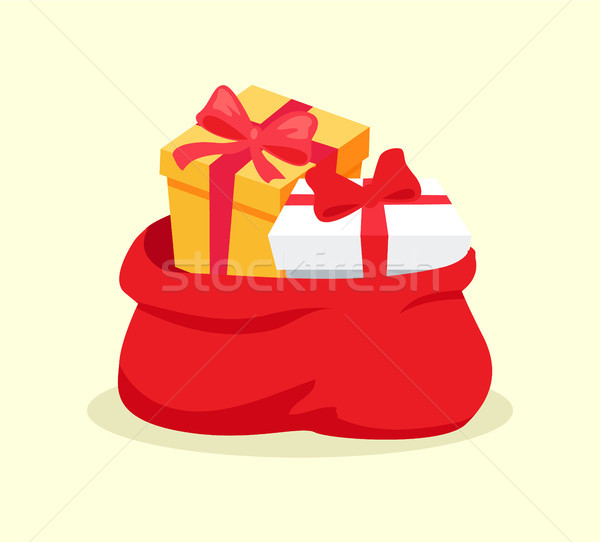 Open Red Bag Full of Christmas Presents Vector Stock photo © robuart