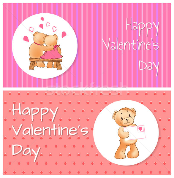 Valentines Day Horizontal Postcards with Bears Stock photo © robuart