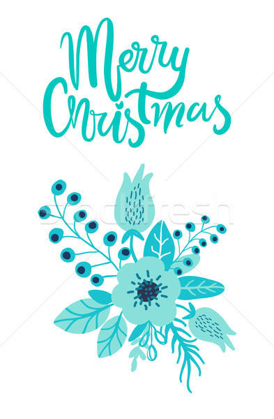 Merry Christmas Holiday Card Floristic Composition Stock photo © robuart