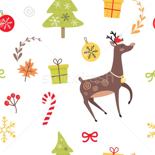 Renifer christmas dekoracyjny czerwony Zdjęcia stock © robuart