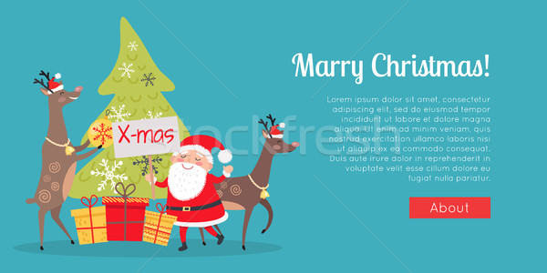 Marry Christmas Web Banner. Presents with Santa Stock photo © robuart