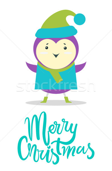 Merry Christmas Greeting Card Small Purple Bird Stock photo © robuart