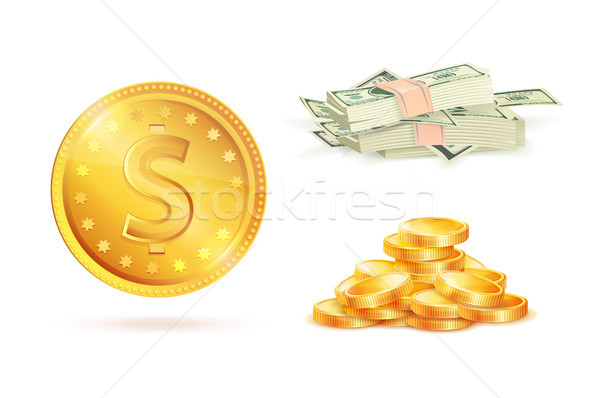 Golden Coin with Dollar Sign, Heap of Gold, Money Stock photo © robuart