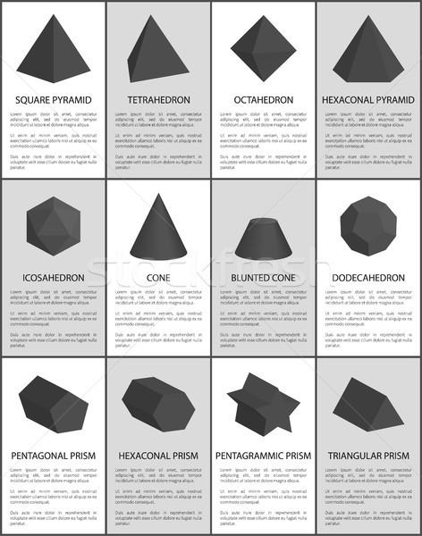 Hexagonal and Pentagonal Pentagrammic Black Prisms Stock photo © robuart