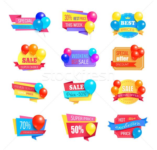 Speciaal korting weekend verkoop best ballonnen Stockfoto © robuart