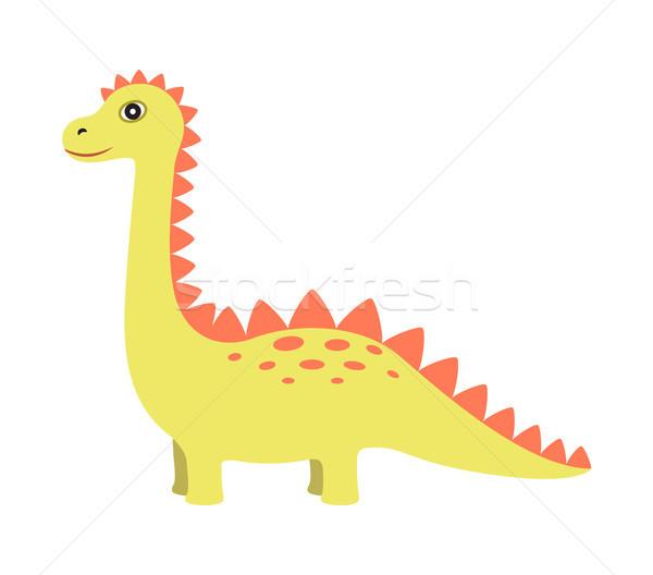Dinosaurus Geel kleur lang nek staart Stockfoto © robuart