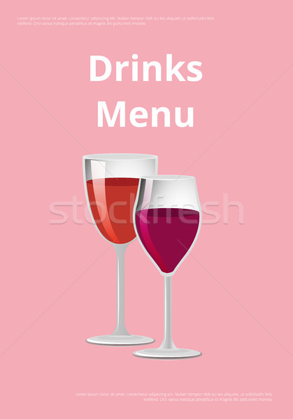 Glass of wine poster with two glasses of wine Stock photo © robuart