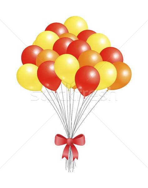 Hélium repülés elemek díszített piros íj Stock fotó © robuart