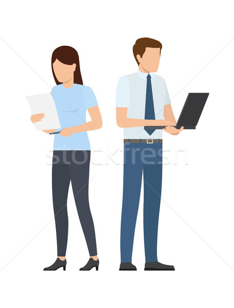 Man and women Paper Sheet and Notebook at Startup Stock photo © robuart