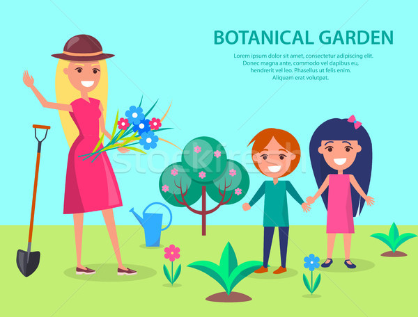 Botanical Garden with Smiling Woman Gardener Stock photo © robuart