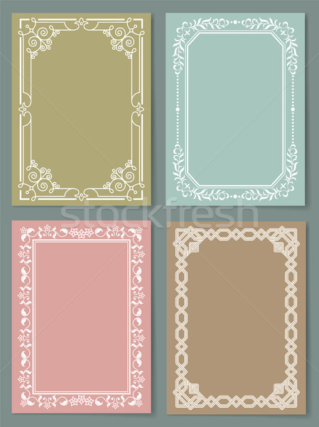 Set of Vintage Frames Decorative Border Corners Stock photo © robuart