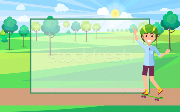 Skater in Protective Helmet in Green Park Trees Stock photo © robuart