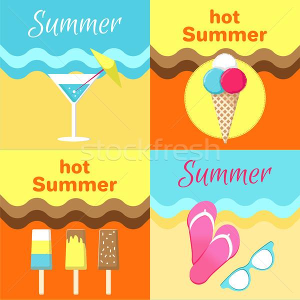 Forró nyár plakátok szett martinis pohár napszemüveg Stock fotó © robuart