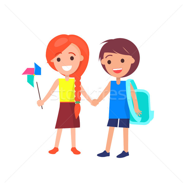 Boy and Girl Holding Hands Isolated Illustration Stock photo © robuart