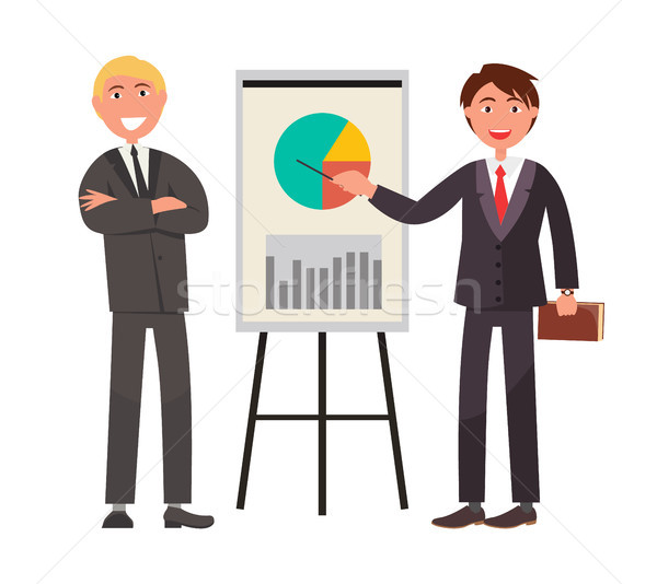 Two Businessman in Expensive Suit Showing on Chart Stock photo © robuart